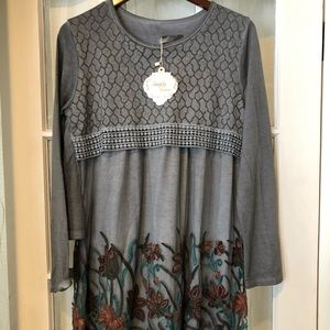 Simply Couture Feminine Gray Embroidered Dress
